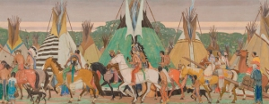 Allen Tupper True, Mounted Indians Passing Teepees