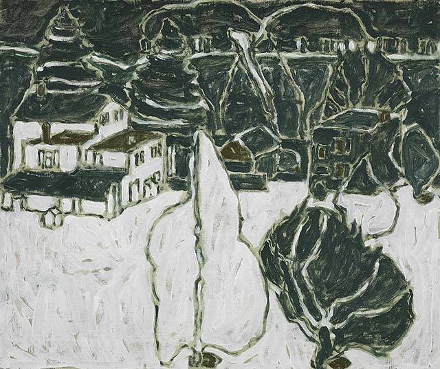 David Milne, Black and White Trees and Buildings, 1915/6
