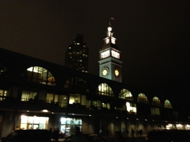 Bay Lights—The Ferry Bldg nods to the bridge ©Liz Hager 2013