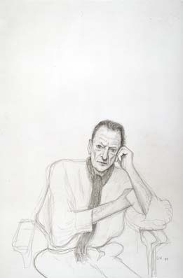 David Hockney, Lucien Freud. 1999 Pencil on grey paper using Camera Lucida, 22 1/4 x 15""