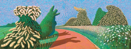 David Hockney, May Blossom on the Roman Road, 2009 Oil on 8 canvases, each 36 x 48""