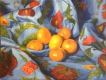 "Tangerine Suzani IIoil on canvas, 12x16""  ©Liz Hager 2014"